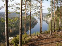 Kind from mountain on a taiga. Russia, Ural, the river Vishera Royalty Free Stock Photo