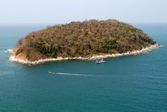 Kind on ocean and island stock photo