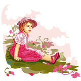 Kind op bloemweide stock illustratie