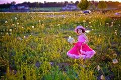 Kind op een bloemgebied royalty-vrije stock afbeeldingen