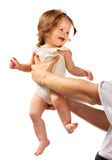 Kind op handen bij papa. Stock Foto