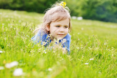 Kind op weide Royalty-vrije Stock Afbeelding