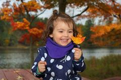 Kind openlucht tijdens daling Royalty-vrije Stock Foto