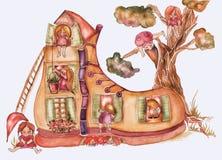 Kind-` s Buchillustration Nettes Schuhhaus des Aquarells mit Fenstern, Dach und Baum hinten und viele Kinder, gemütlich vektor abbildung