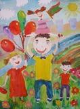 Kind-` s, das draußen glückliche Familie für einen Weg zeichnet Lizenzfreies Stockbild