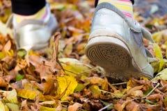 Kind-` s Füße auf gelben Blättern Lizenzfreie Stockfotos