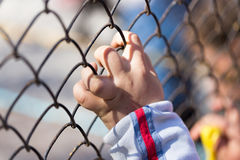 Kind` s hand op een net van een metaalomheining royalty-vrije stock foto