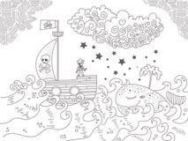 Kind-` s Illustration mit Piratenschiff lizenzfreie abbildung