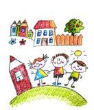 Kind  ?s-Malerei auf Papier Kinder, die Bild zeichnen Wenig Kinder, Jungen und M?dchen Schule, Kindergartenillustration Spielen S stock abbildung