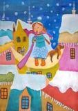 Kind- ` s Malerei ` fantastisches Weihnachts-Winter-Nacht-` Stockfotos