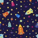 Kind-` s nahtloses Muster Karikatur mit einer Rakete, blaue Hintergrundillustration des Raumfahrzeugs Stockfotos