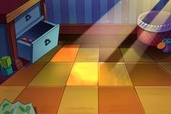 Kind-` s Raum, eine kleine Ecke mit Sonnenlicht auf dem Boden Stockbild