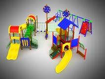 Kind-` s Spiel komplexes 3d übertragen auf grauem Hintergrund Stockfoto