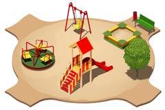 Kind-` s Spielplatz mit Schwingen, Karussell, Sandkasten und Dia für den Eislauf, isometrische Vektorillustration Lizenzfreie Stockbilder