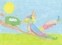 Kind` s tekening; Kleurenvogel met eieren op de boom` s tak Royalty-vrije Stock Afbeeldingen