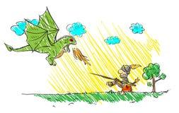 Kind` s tekening met een draak en een ridder stock illustratie