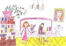 Kind` s tekening van een haarsalon Stock Foto's