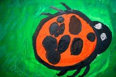 kind` s tekening van het insectlieveheersbeestje Royalty-vrije Stock Afbeeldingen