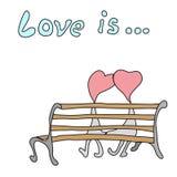Kind-` s Zeichnung eines Paares, das auf einer Bank sitzt Stockbilder