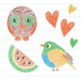 Kind-` s Zeichnung Eule, Vogel, Wassermelone und Herz Färben Sie Bleistift Ha stock abbildung