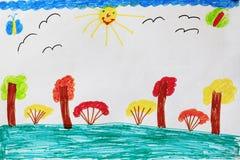 Kind-` s Zeichnung mit Buschbäumen und -vögeln Stockbilder