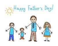 Kind-` s Zeichnung Vater `s Tag Vater und drei Kinder stockbild