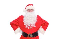 Kind Santa Claus pointing in white blank sign, isolated on white background.  Stock Photo