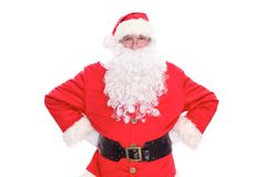 Kind Santa Claus portrait standing, isolated on white background.  Royalty Free Stock Photo