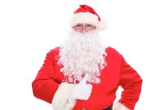 Kind Santa Claus thumb up, isolated on white background.  Royalty Free Stock Photos
