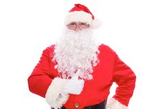 Kind Santa Claus thumb up, isolated on white background royalty free stock image