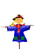 Kind scarecrow with a birdie Stock Photography