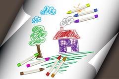 Kind scherzt Zeichnung eines Hauses oder des Hauses Stockbild