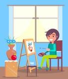 Kind sitzt im Raum-und Farben-Stillleben-Bild Stockfotografie