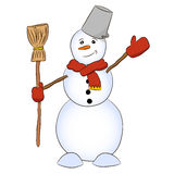 Kind snowman with broom Stock Image