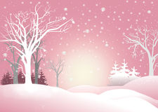 Kind snowy winter landscape illustration Stock Images
