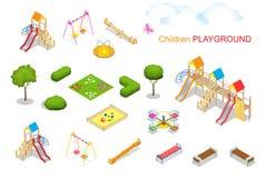 Kind-Spielplatz 2 Flache isometrische Illustration des Vektors 3d für infographics Schwingenkarussell sandpit Dia-Rockerseil Stockfotografie
