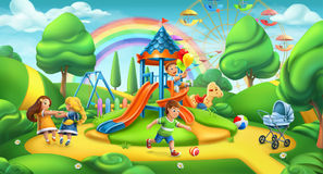 Kind-Spielplatz 2 Naturlandschaft, Parkvektorpanorama stock abbildung