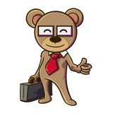 Kind Teddy Bear with his Trusty Case Stock Photography
