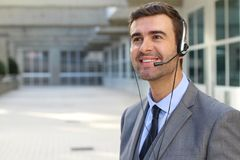 Kind telemarketing operator doing his thing.  Royalty Free Stock Photography