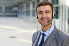 Kind telemarketing operator doing his thing.  Royalty Free Stock Photo