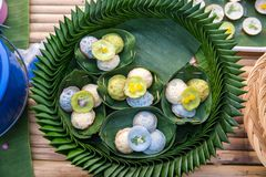Kind of Thai sweetmeat . Coconut milk mix with powder fried dessert. Making of Thai sweetmeat khanomkhrok. Local Thai food. Kind of thai sweetmeat, coconut stock photos