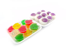 Kind of thai sweetmeat. Colorful thai dessert on white background Stock Photo