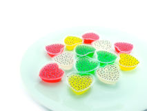 Kind of thai sweetmeat. Colorful thai dessert on white background Stock Image
