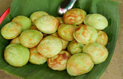 Kind of Thai sweetmeat - Kanom krok green Pandan Royalty Free Stock Image