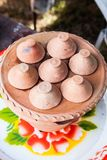 Kind of Thai Sweetmeat Pottery Royalty Free Stock Photography