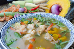 Spicy mixed vegetable soup (Kaeng Liang) Stock Image