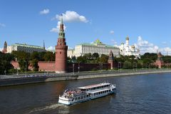Kind to the Moscow Kremlin and Moskva River. Stock Photos