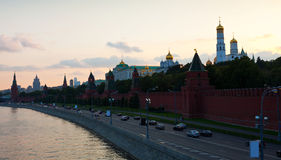 Kind to the Moscow Kremlin   in sunset. Russia Stock Photo