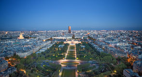 Kind to night Paris. From Tour d'Eiffel, France Stock Images