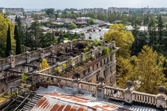 Kind to Sukhumi from a dilapidated building of parliament of Abk Stock Photo
